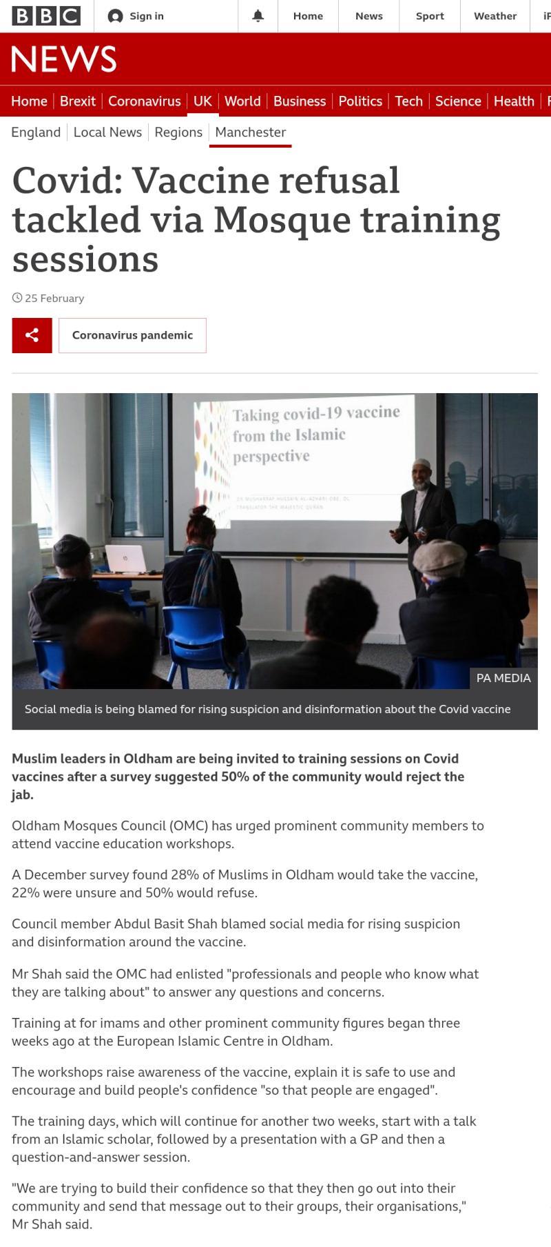 BBC News article on OMC Covid Vaccine Training
